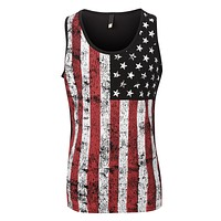 Mens Casual American US Flag Print Sleveless Tank Top T Shirt (CLEARANCE) (CLEARANCE)
