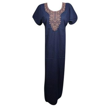 Mogul Womens Cotton Maxi Caftan Dress Neck Embroidered Short Sleeves Summer Fashion Beautiful Evening Kaftan Nightgown Sleepwear L - Walmart.com