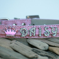 Pink dog collar,  Rhinestone dog  Collar with 5 Personalized Rhinestone Letters and Pink Rhinestone Crown -  Dog Collar
