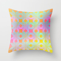 Idun Goddess of Youth Throw Pillow by Gréta Thórsdóttir #floral #youth #ikat  #ethnic #zigzag #coral #mint #girly