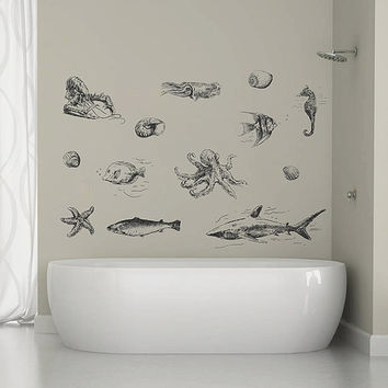 kik1334 Wall Decal Sticker squid seahorse shark cancer fish sea animals bedroom bathroom