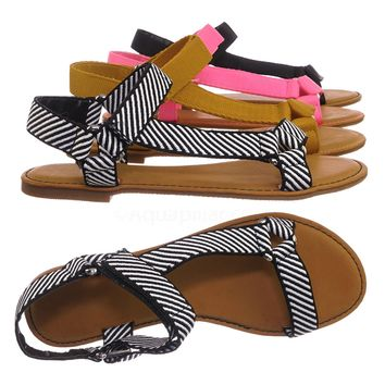 Thrive44 Sporty Hook And Loop Sandal - Women Knit Strap Nylon Flats Shoes