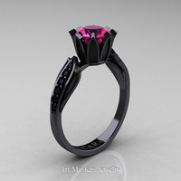 Cara 14K Black Gold 1.0 Ct Pink Sapphire Black Diamond Solitaire Ring R423-14KBGBDPS