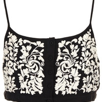 Button Front Floral Crop Top - Topshop