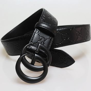 GUCCI Women Men Fashion New Metal Buckle Embossing Letter Leather Belt Black
