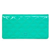 CHANEL NIB Turquoise Quilted Patent Leather Long Wallet
