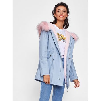 Blue Hoodie Long Sleeve Faux Fur Coat