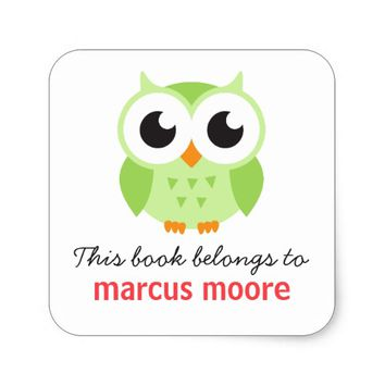 Cute green baby owl animal cartoon bookplate book square sticker