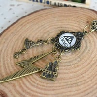 Harry Potter necklace,I believe The Dethly Hallows image,with Sorting Hat,Harry lighting scar and Hogwarts castle pendants necklace (N12)