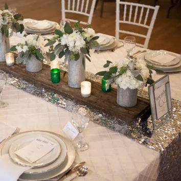 Silver  Rain Drop Sequin Table Runner