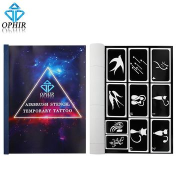 OPHIR 100 Designs Reusable Airbrush Body Paint Template Sheets A4 Henna Temporary Tattoo Stencil Body Art Supply _TA094