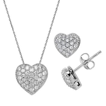 Emotions Sterling Silver Heart Pendant Necklace and Stud Earring 1295e8868b