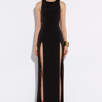 Lexi Black High Double Slit Maxi Dress