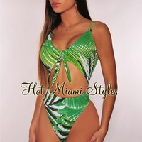White Green Palm Print Cut Out Tie Up Swimsuit