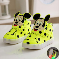 Boys or Girls Polka Dot LED Light Up Mickey Mouse Shoes