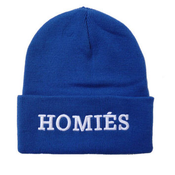 HOMIES Beanie Letter Embroidered Knitted Wool Womens & Mens Warm Winter Blue & White Cuffed Skully Hat