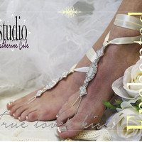 ENCHANTED BRIDE rhinestone silver Barefoot sandals beach destination wedding shoe bridal bridesmaid foot Jewelry footless sandles SJ3