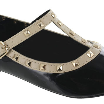 Girl's Black Shiny Shoe with Beige Trim and Stud Detail