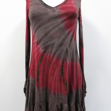Grey and Burgundy Tie Dye Tunic