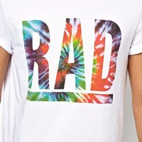 ASOS T-Shirt With Tie Dye Rad Print at asos.com