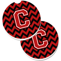 Letter C Chevron Black and Red   Set of 2 Cup Holder Car Coasters CJ1047-CCARC