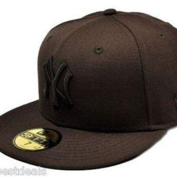 DCK4S2 NEW ERA Hat Baseball 59Fifty New York Yankees Fitted Brown Mens Cap