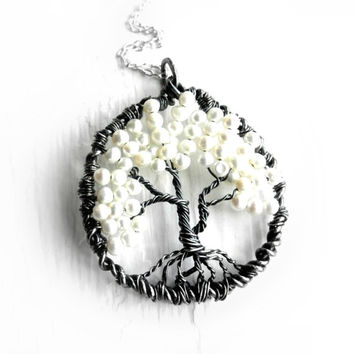 Tree of Life Necklace, Pearls Tree of Life, Black,White, Sophisticated, Woodland, Family, Mother, Sister, Rustic,