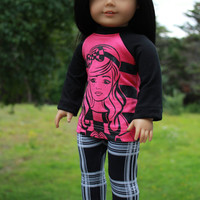 18 inch doll clothes, pink and black graphic print shirt, black and white plaid leggings, american girl ,maplelea