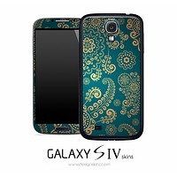 Gold Printed Floral Skin for the Galaxy S4