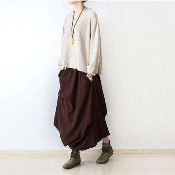 2016 Women Skirts Saias Femininas Plus Size Linen Skirts Pleated Pockets Casual Maxi Long Skirts Women Irregular Loose Buttom