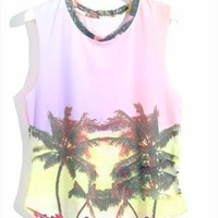 Retro Loose Fitting Gradient Color Tree Print Vest from perfectmall