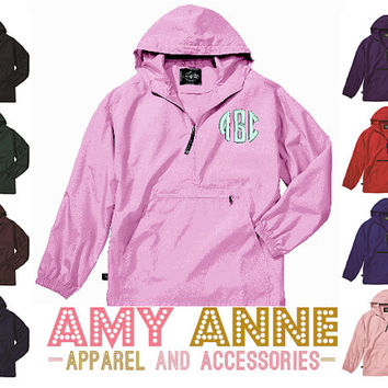 Youth Monogrammed Lightweight Pack and Go Rain Jacket by Charles River ~Personalized ~ Pullover ~ Half Zip