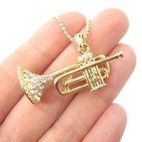 3D Miniature Musical Instrument Trumpet Shaped Pendant Necklace in Gold