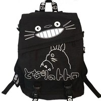 "Totoro Smiling Black Backpack with White Lettering 16"" School Backpack"
