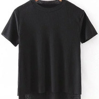 Black Dipped Hem Short Sleeve Rib T-shirt
