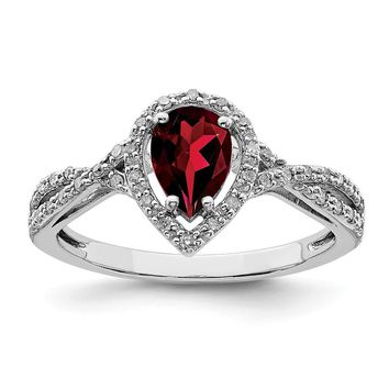 925 Sterling Silver Rhodium-plated Diamond and Garnet Ring