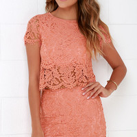 Turn Back Time Peach Lace Two-Piece Dress