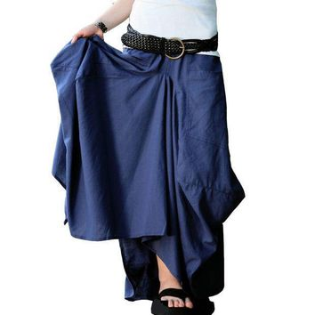Long Skirt 2016 Saias Femininas Solid Skirts Womens Original Design Long Big Pocket Casual Linen Skirt Saia Longa Maxi Skirt