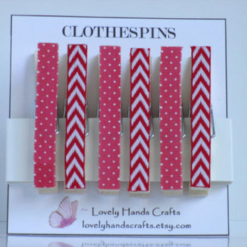 Decorative Wooden Christmas Clothespins, Red and White, Set of 6
