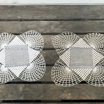 Pair of Vintage Doilies, Square with Large Scalloped Edges, Ivory and Light Almond, circa 1950s-1960s