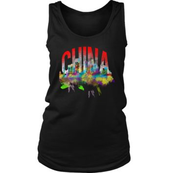 China Skyline Watercolor Horizon Sunset Love Everything Chinese Women's Tank