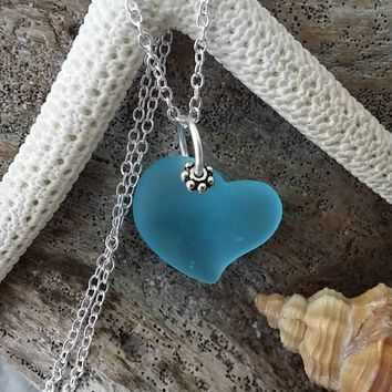 """Handmade in Hawaii, """"Heart of the Sea"""" Blue sea glass necklace,925 sterling silver chain,gift box,Beach jewelry gift."""