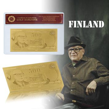WR Finland 500 Gold Banknote Gold Plated Bill Note With Coa Good Gift For Collection Business Friend For New Year