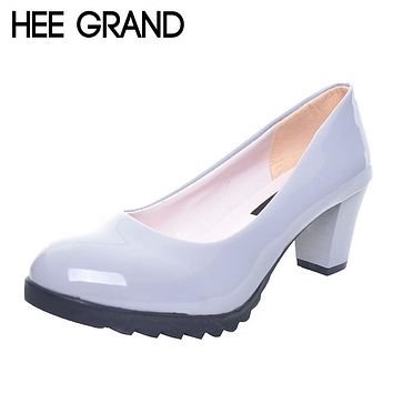 HEE GRAND Women Pumps Classics Solid Black Candy Color PU Leather OL Shoes Woman Square Heel Slip-ons Plus Size 35-40 XWD2633