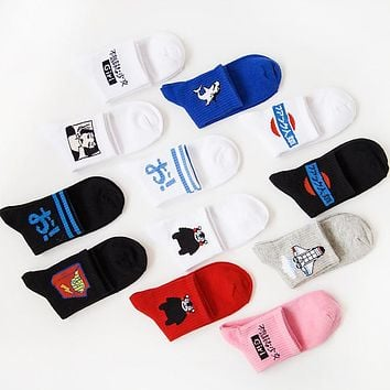 35-42 New Cotton Men Ladies Socks Dolphin Bear Janpese Harajuku Skate Socks