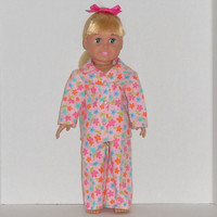 American Girl Doll Flannel Pajamas Pink Flowers fits 18 inch dolls