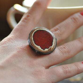 Adjustable ceramic ring / handmade ring / great gift for her / zolanna /ceramic ring / rustic ring