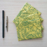 Unique Blank Note Card Set - Yellow and Green Handmade Paper Self Contained Envelopes
