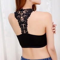 New Sexy Women Lace  padded Bustier Crop Top Bralette Crochet Cropped Blusas Mesh Tank Tops