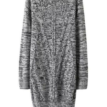 Geometry Pattern High-Waisted Twisted Midi Knit Dress